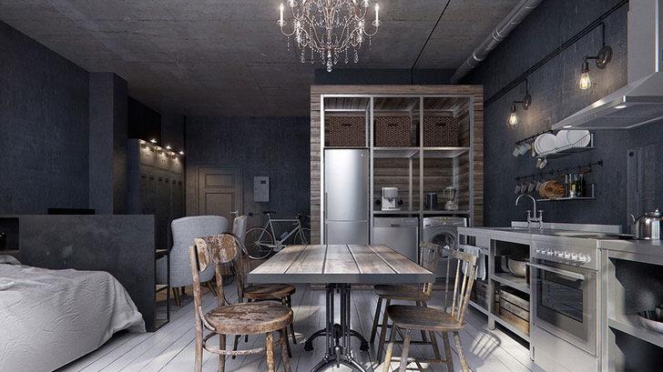 Стильная квартира-студия оформлена в холодных голубых тонах, которые отлично сочетаются с блеском хромированной стали.