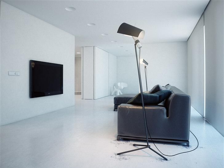 В комнате для гостей, организованной в стиле минимализм, нет шкафов. Пространство оформлено таким образом, что шкафы делаются скрытыми, встраиваются в ниши.