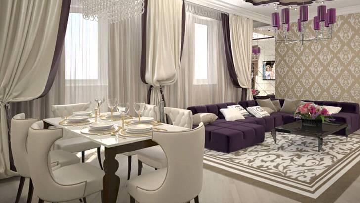 Тяжелые шторы на окнах в сочетании с мягкой мебелью бело-сиреневого цвета воедино воссоздают интерьер в стиле арт деко. В соответствии со стиле так же подобрано освещение. Потолочная люстра украшена одинаковыми глянцевыми плафонами темно-фиолетового цвета.