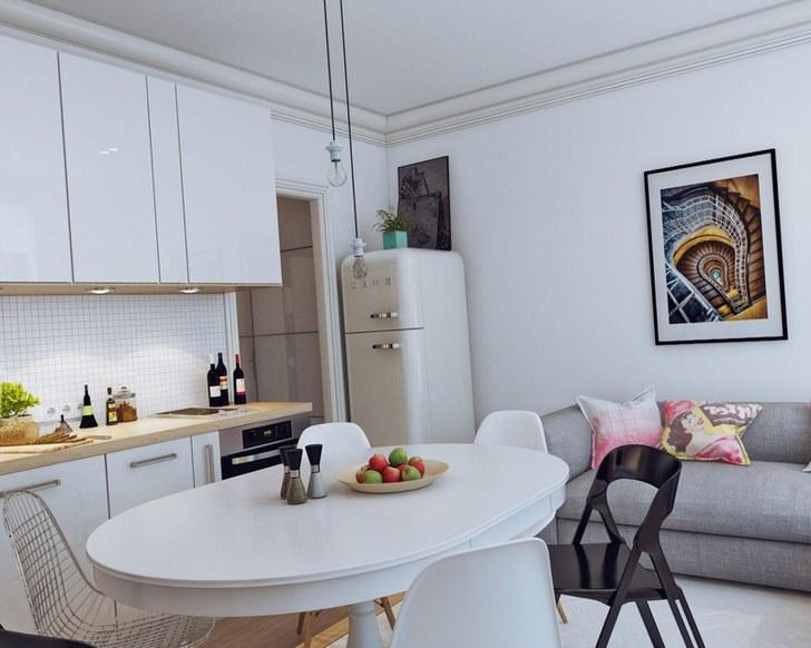Квартира-студия лучше всего смотрится в светлых тонах, которые вместе с дневным освещением зрительно увеличивают пространство.