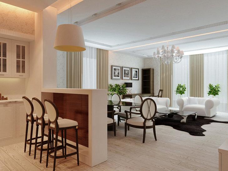 Стиль арт деко может быть использован для оформления интерьера квартиры-студии. Живые цветы - интересное дизайнерское решение для подобной композиции.