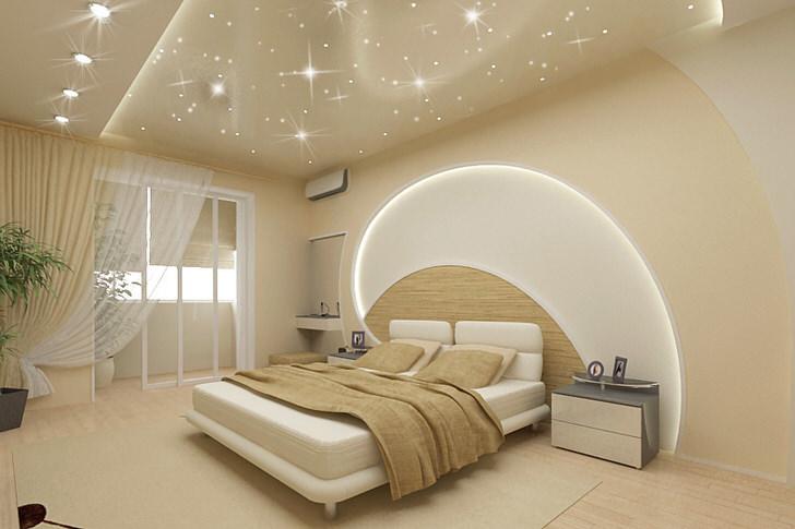 Внимание притягивает отделка стен и потолка в спальне в модерн стиле. Светодиодные ленты проходят по потолку и по стене над кроватью, натяжные потолки имитируют волшебное звездное небо.