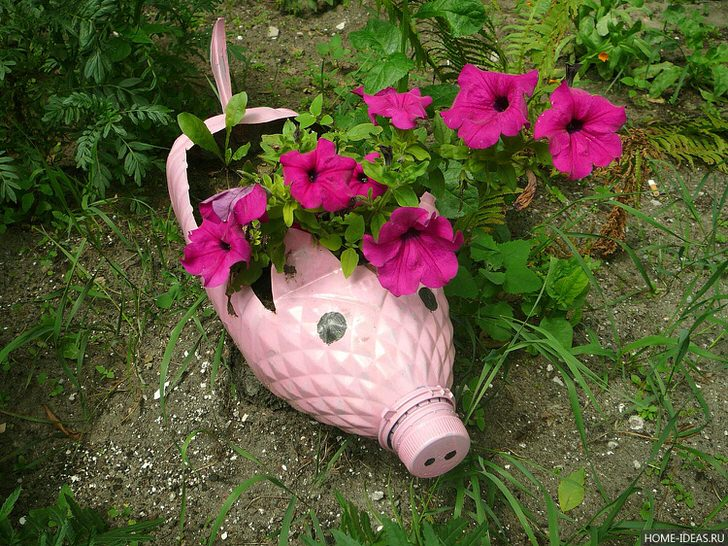 Мини-клумба из пластиковой бутылке оформлена в виде розового поросенка.