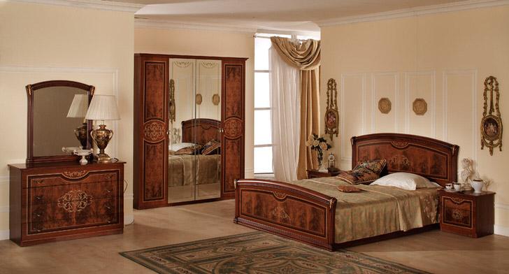Модульная мебель для классической спальни подобрана максимально правильной.