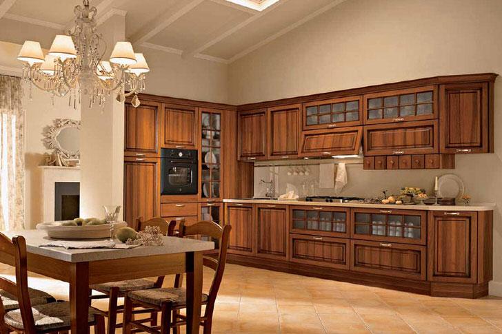 Кухонный уголок для кухни в стиле либерти изготовлен из натурального дерева, что является одним из основных требований стилистической концепции.