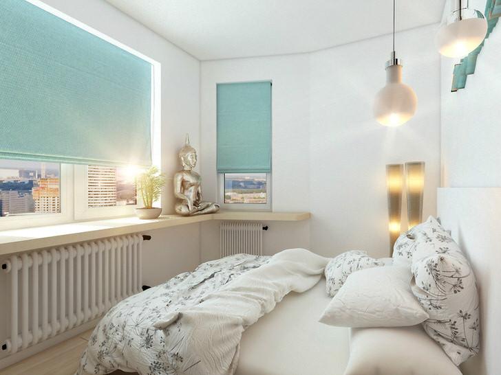 Скандинавский стиль можно назвать одним из наиболее приемлемых, когда речь идет о помещении небольшой квадратуры. Малогабаритная спальня выполнена в белых тонах с элементами нежно-мятного цвета, который делает атмосферу по-домашнему уютной.