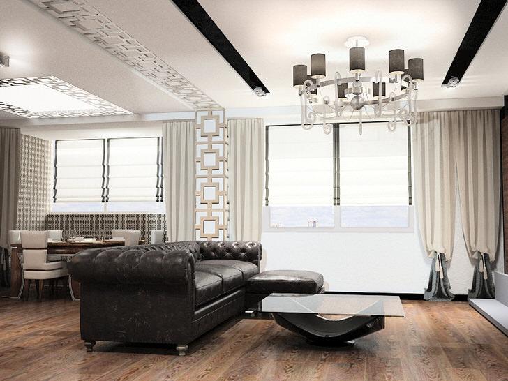 Меблировка в стиле арт деко - это всегда крупногабаритная мебель. Идеально для оформления гостиной в данной стилистической концепции подходит кожаный диван со стеганой обивкой.