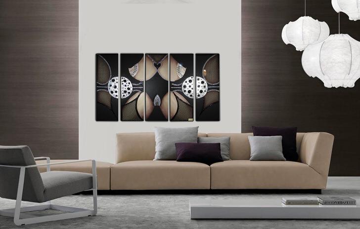 Модульные картины с изображением абстрактных форм и геометрических фигур отлично подходят для украшения комнат в стиле модерн, хай тек или минимализм.