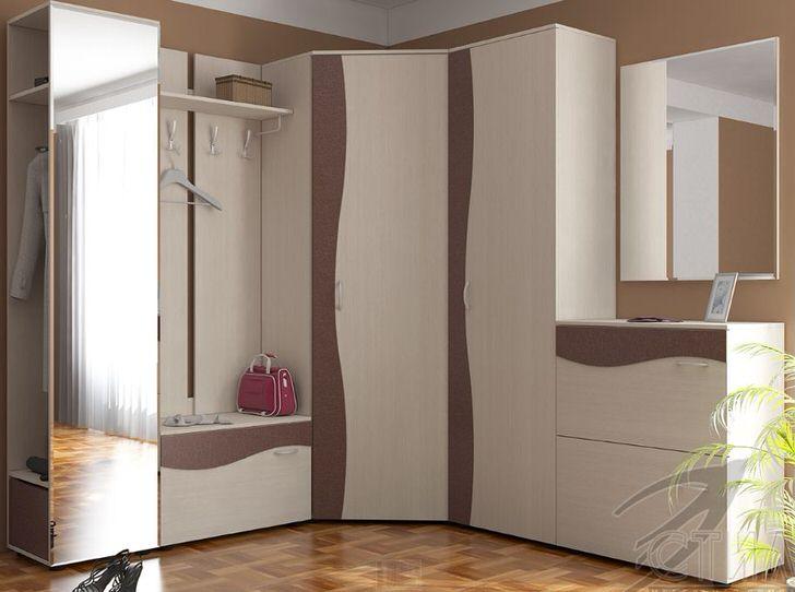 Вместительная модель модульной прихожей состоит из вешалки, шкафа для верхней одежды и обувной полки.