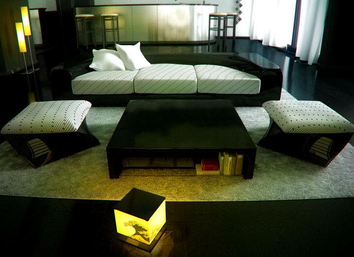 Зона отдыха оформлена в стиле минимализм. Дизайн становится отличным примером уютной организации пространства.
