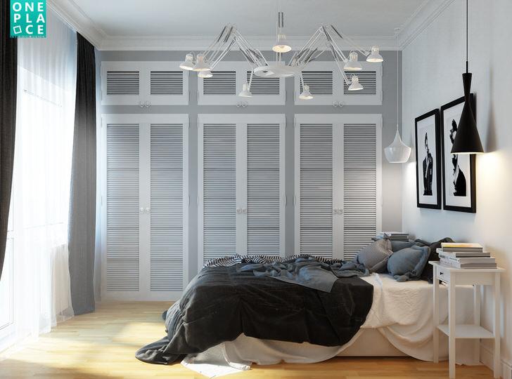 Шкафы для спальни были подобраны в четком соответствии скандинавскому стилю. Вместительная, функциональная меблировка - одно из главных требований стиля.