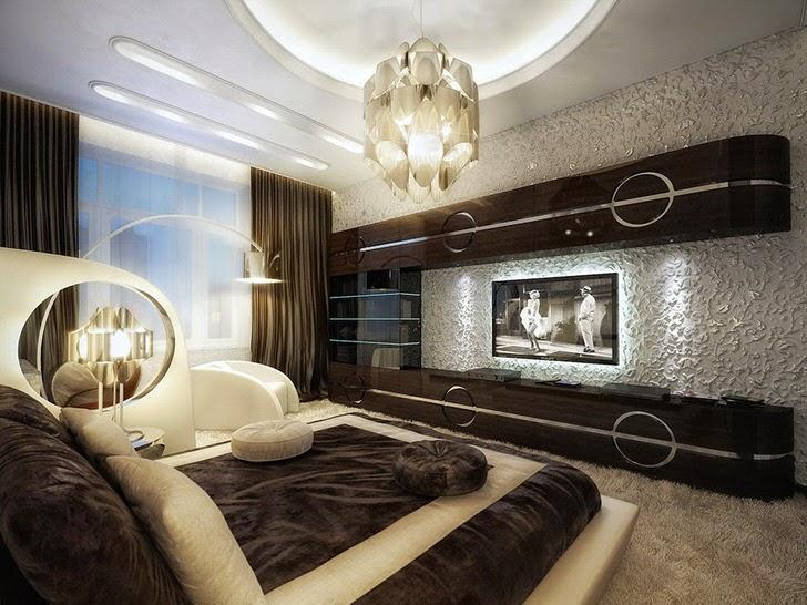 Шикарный интерьер спальни в стиле модерн. Лакированная мебель из темного дерева вместительна и функциональна.