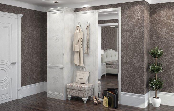 Сдержанное, лаконичное оформление прихожей в стиле модерн интересно цветовой гаммой. Нейтральный белый цвет гармонично сочетается с оттенками серо-фиолетовой гаммы.