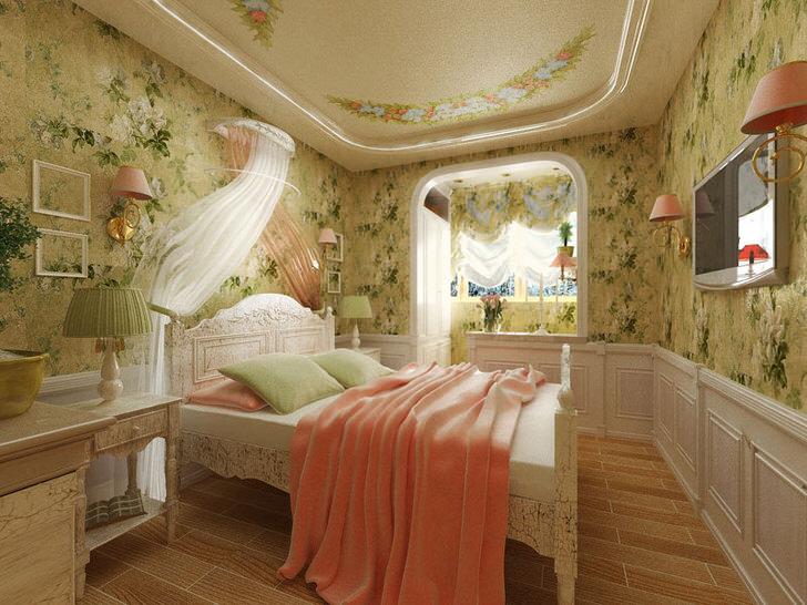 Спальня в французском стиле для молодой леди. Необычный дизайнерский замысел примечателен отделкой стен с цветочным принтом.
