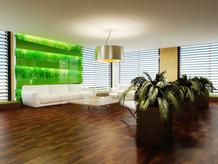 Крупные горшки с живыми растениями - лучший вариант декора для гостевой комнаты в эко стиле.