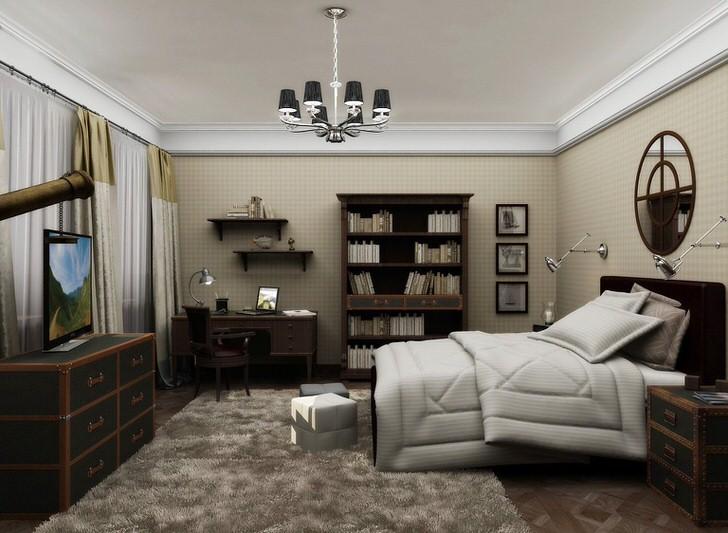 Спальня в английском стиле в традиционной квартира на западе Москвы.