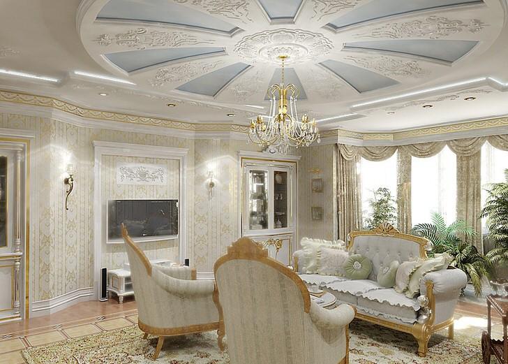 Стильная гостиная в доме на западе Германии. Нежное сочетание голубого и белого идеально для гостевой комнаты.
