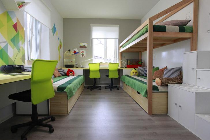 Комната для трех братьев оформлена в стиле хай тек.