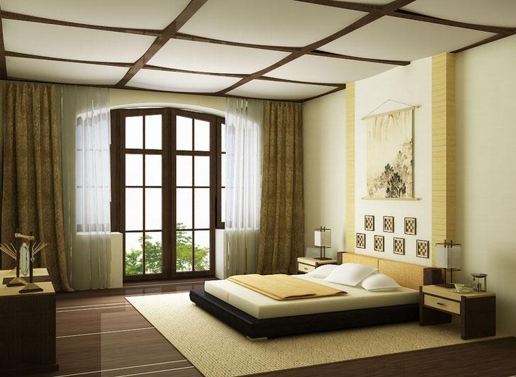 Спальня в стиле минимализм в большом загородном особняке в Швейцарии.