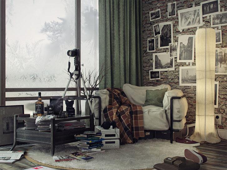 Стиль лофт предполагает наличие небольшого хаотичного беспорядка. Отличный пример - квартира профессионального американского фотографа в стиле лофт.