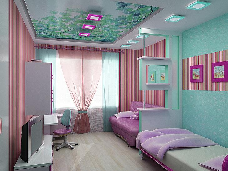 Комната для двух сестер функциональна и практична. Привлекательный дизайн интерьера без сомнения понравится детям.