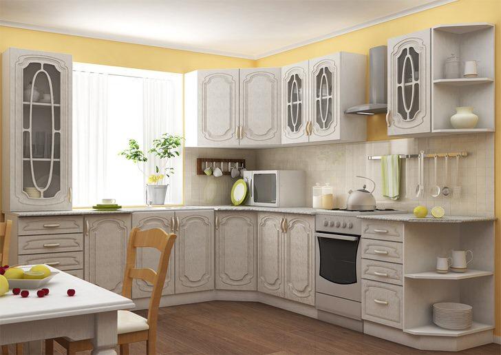Цвет модульного кухонного гарнитура слоновая кость идеально подходит для создания интерьера в стиле кантри.