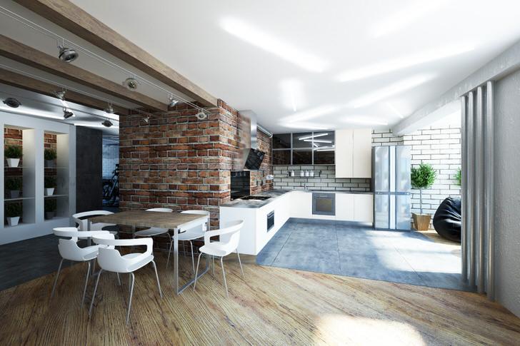 Кухня, совмещенная с гостиной, оформлена в лофт стиле. Лаконичный, сдержанный интерьер говорит о чувстве стиля дизайнера.