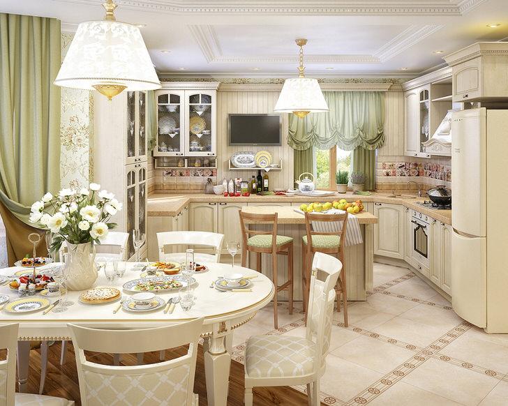 Кухня, организованная в стиле деревенский кантри, объединена с гостиной. Правильная расстановка световых и декоративных акцентов делает помещение привлекательным и изысканным.