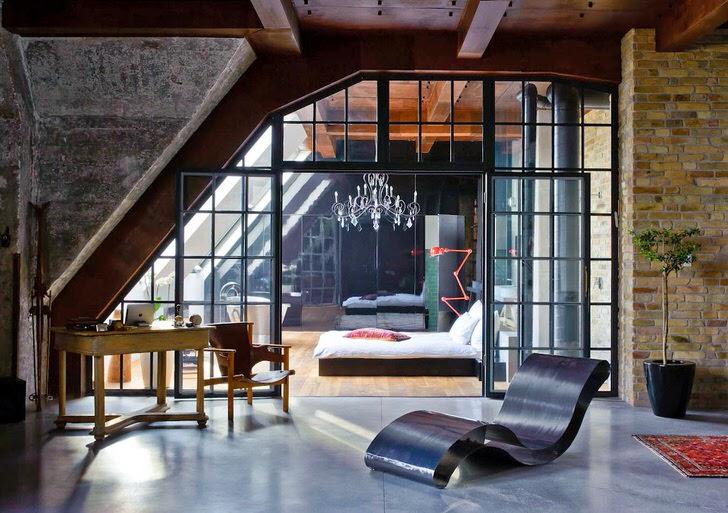 Квартира в лофт стиле интересна декоративными перегородками, которое отделяют комнаты друг от друга.