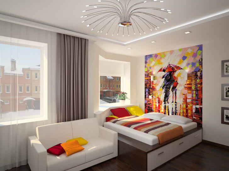 Креативное оформление спальни в стиле модерн. Использование ярких сочных красок делает комнату по-настоящему уютной и теплой.