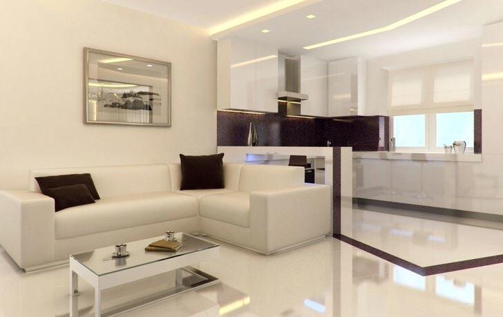 Квартира-студия в стиле минимализм просторна и светла. Лишние декоративные элементы интерьера не перегружают интерьер.