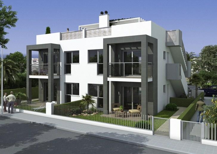 Черно-белый контраст делает фасад здания стильным и креативным.