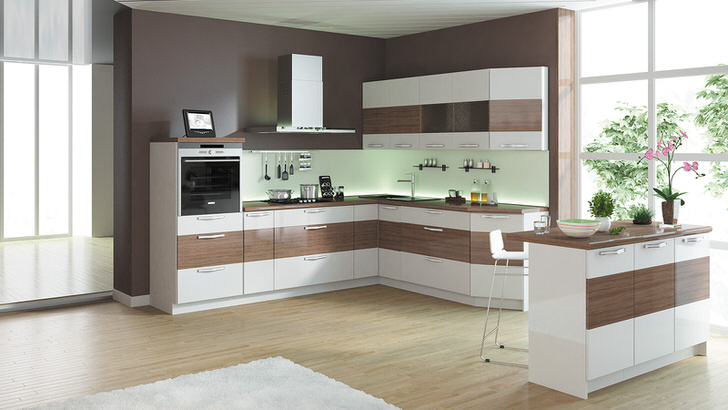 П-образный модульный гарнитур - лучшее решение для просторной кухни. Вместительная мебель, встроенная техника - все, что нужно современной хозяйке.