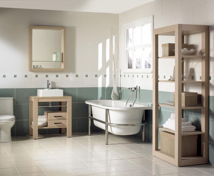 Мебель из дерева - отличное решение для ванной в стиле модерн. Светлая цветовая гамма способствует расслаблению и отдыху хозяев дома и их гостей.