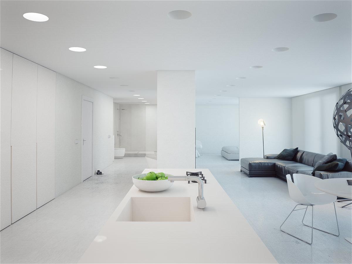 Между кухней и гостиной практически нет никаких барьеров, отсутствие которых делает помещение визуально более просторным.