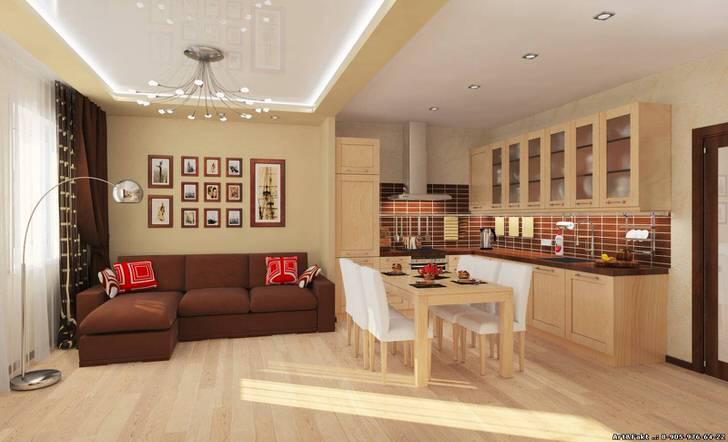 Обеденная зона отделяет кухню от гостиной. Функциональный вариант оформления интерьера в просторной однокомнатной квартире.