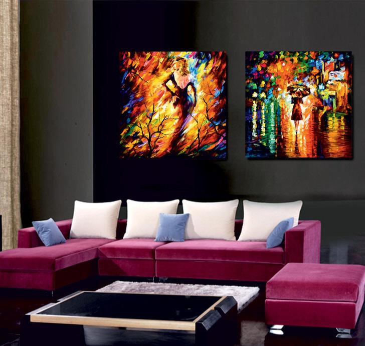 Модульные картины имитируют живопись маслом. Яркие, сочные краски разбавляют дизайн помещения, делают его необычным и эксклюзивным.