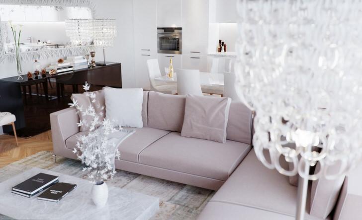 """Роскошный, гламурный дизайн гостевой комнаты в стиле арт деко с правильно подобранным освещением. Стиль арт деко """"любит"""" массивные потолочные люстры из хрусталя."""