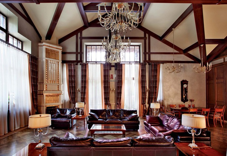 Для оформления гостиной или рабочего кабинета  может быть использована кожаная мебель.