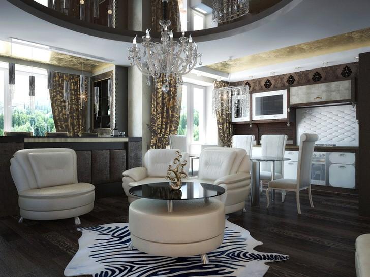 Для небольшой гостиной в квартире-студии была подобрана лаконичная, но благородная меблировка. В соответствии со стилем арт деко для декора используется ковер с животным принтом, напоминающий шкуру зебры.