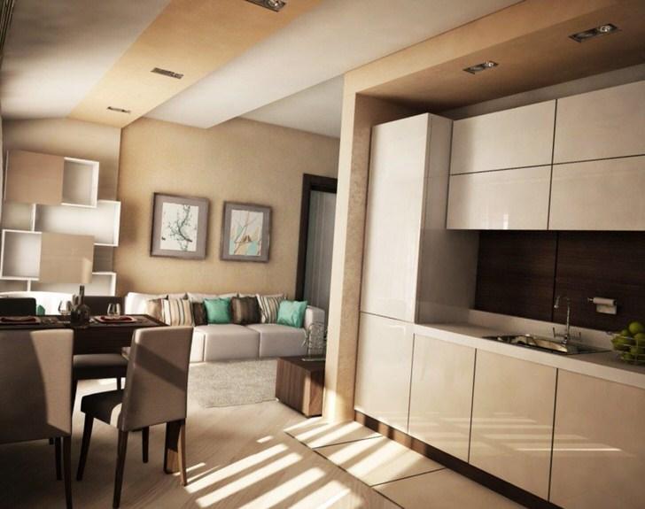 Квартира-студия небольших размеров в стиле модерн.