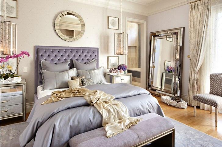 Стильный дизайн помпезной спальни в стиле модерн. Хоть подобный размах не свойственен стилю, интерьер смотрится элегантно и эффектно.