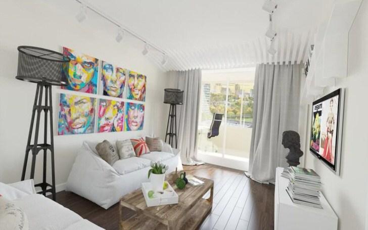 Модульные картины в гостиной в загородном особняке на юге Испании.