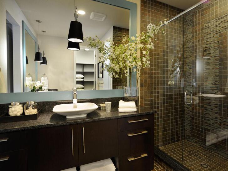 Мебель цвета венге для ванной комнаты в стиле модерн.