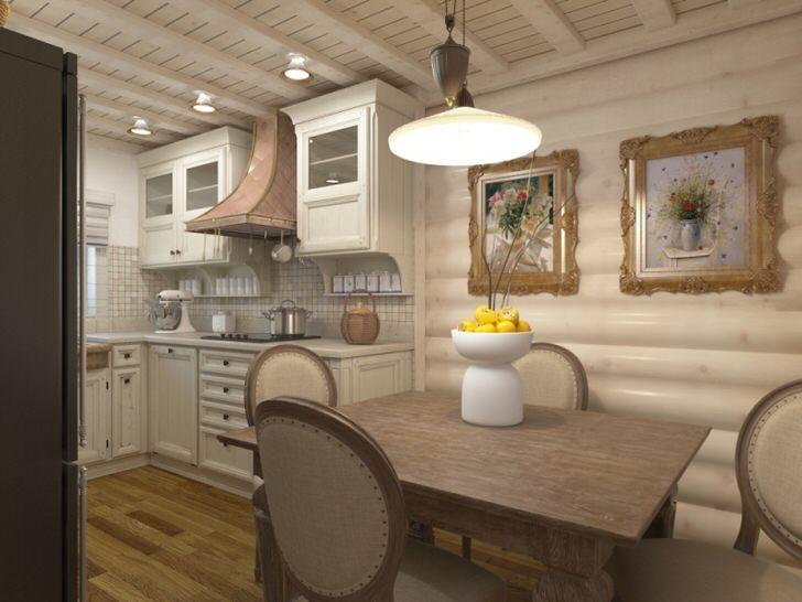 Белый шале интересен своей универсальностью. Оформление кухни площадью 10 квадратных метров сдержанное и лаконичное.