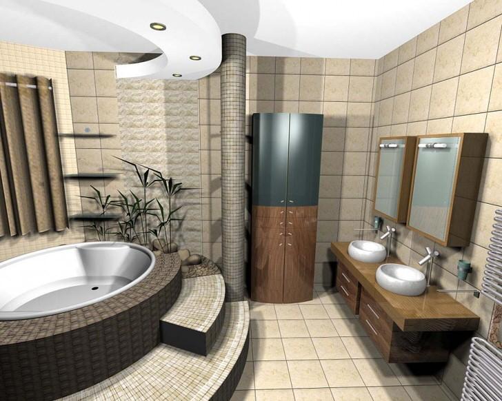 Проект ванной в стиле модерн ученика школы дизайна.