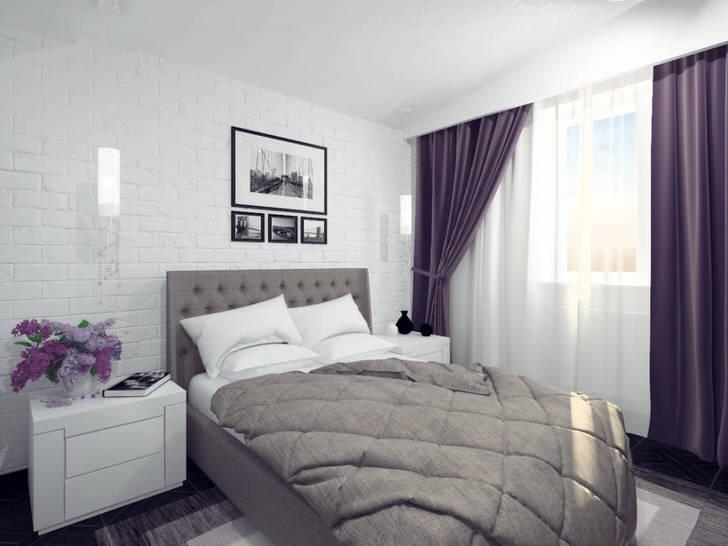Интересным дизайнерским решением становится стена в изголовье кровати, имитирующая кирпичную кладку.