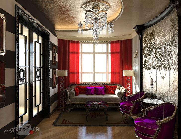 Освещение было подобрано в соответствии с требованиями к оформлению небольших комнат. Стиль арт деко поражает своей помпезностью и элегантностью.