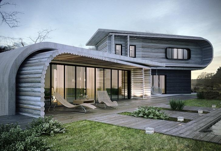 Необычное решение для стиля хай тек. Дом построен из деревянного сруба.