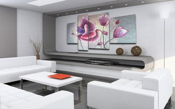 Удачный пример оформления интерьера в стиле хай тек с использованием модульных картин.